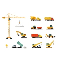 Construction Machinery Set Design Flat vector image vector image