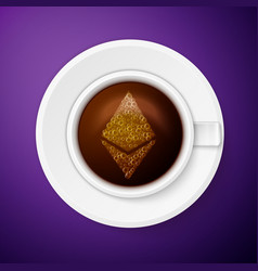 Cup of coffee with ethereum symbol vector
