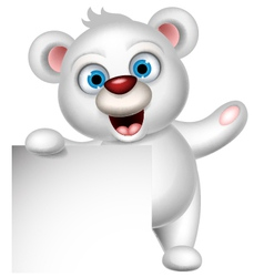 cute polar bear with blank sign vector image vector image
