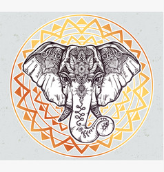 decorative elephant with ethnic lotus ornament vector image vector image