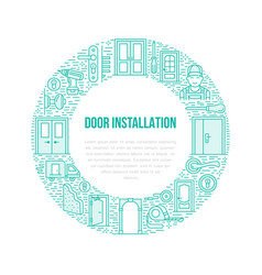 Doors installation signs repair banner vector