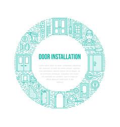 Doors installation signs repair banner vector