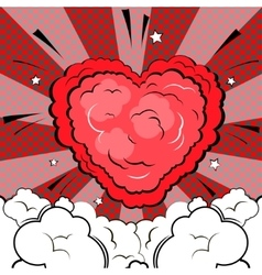 Explosion in form of heart in comic book style vector