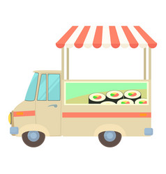 fast food truck city car with sushi icon vector image