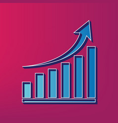 Growing graph sign blue 3d printed icon vector