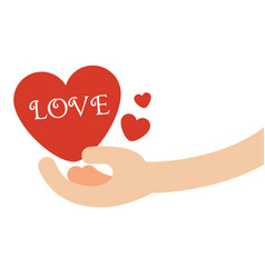 Hand giving hearts with love text vector