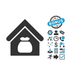 Harvest warehouse flat icon with bonus vector