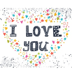 I love you Romantic card with heart Cute greeting vector image vector image