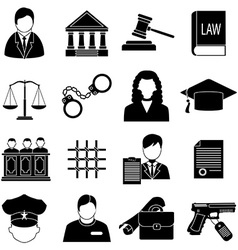 Justice law icons set vector