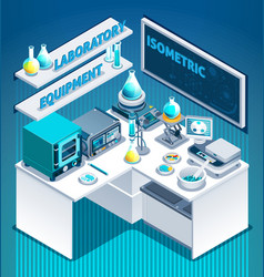 Laboratory table isometric composition vector
