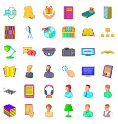 Librarian icons set cartoon style vector