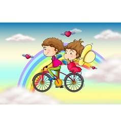 Lovers riding in a bike near the rainbow vector image vector image