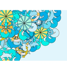 Marine pattern with space for text vector image vector image
