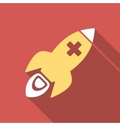 Medical rocket flat square icon with long shadow vector