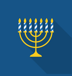 Menorah and seven stripe candles icon vector
