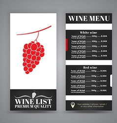 Menu Design for wine cafes restaurants vector image vector image
