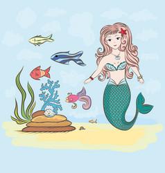 mermaid and fish rocks and seaweed shell vector image vector image