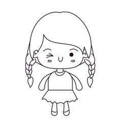 monochrome silhouette of kawaii little girl with vector image vector image