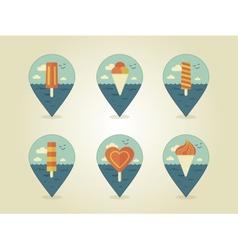 Pin map icons ice cream vector