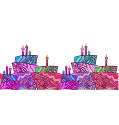 Seamless border with cake vector