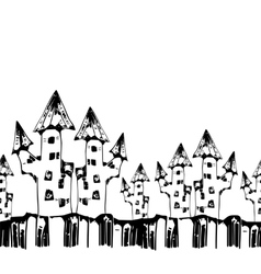 seamless pattern with scary houses for halloween vector image vector image