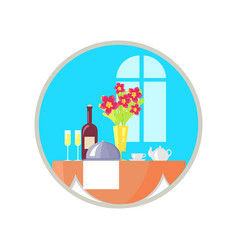served restaurant table icon vector image