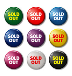 Set of round buttons with words sold out vector