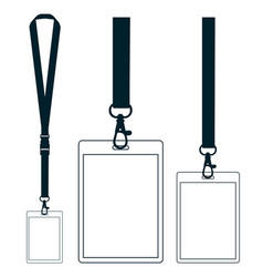 Silhouette of lanyard with neckband badge with vector