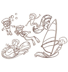 Simple sketch of people doing water sports vector