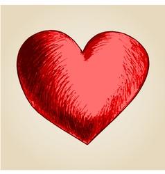 Sketch drawing of a heart symbol vector