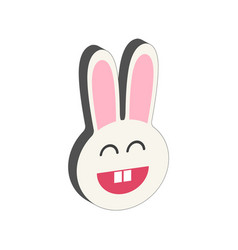 smiling bunny symbol flat isometric icon or logo vector image vector image