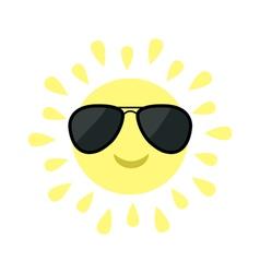 Sun shining icon sun face with black pilot vector