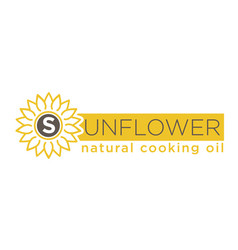 Sunflower natural cooking oil emblem of natural vector