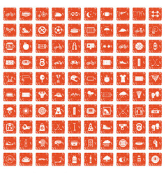 100 cycling icons set grunge orange vector