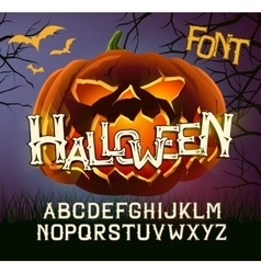 Halloween font letters poster with evil pumpkin vector