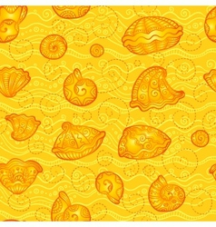 Doodle seashells orange pattern vector