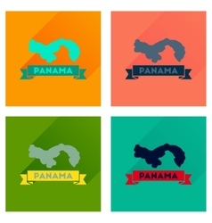 Concept flat icons with long shadow panama map vector