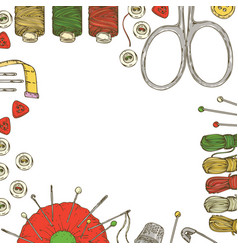 frame with sewing supplies and accessories vector image