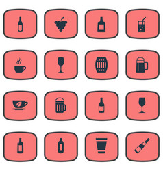 Set of simple beverage icons elements glass pub vector