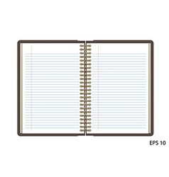 Open notebook with white page on wooden background vector image