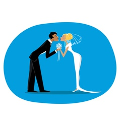 Bride and bridegroom kissing vector image