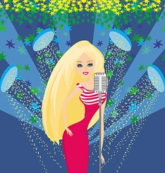 Beautiful glamour karaoke girl vector