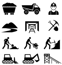 Mining and industry icon set vector