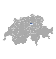 Map of switzerland with flag of zug vector