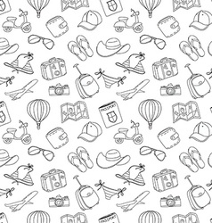 Summer vacation sketch doodle seamless pattern vector
