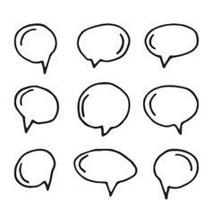 Hand drawn speech bubbles on white vector