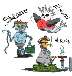 Vintage antique robots vector