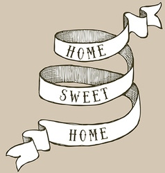 Home sweet home ribbon vector