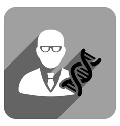 Genetic engineer flat square icon with long shadow vector