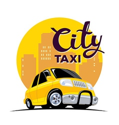 Yellow taxi in big city with header on wh vector